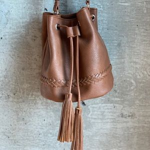 Brown faux leather bucket bag
